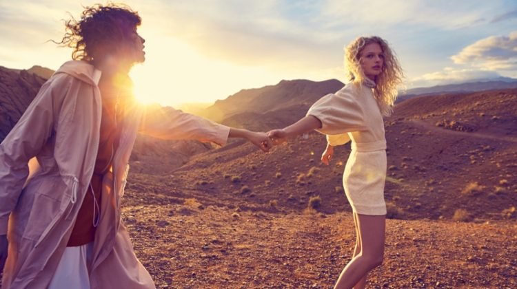 Mica Arganaraz and Frederikke Sofie stars in Mango's February 2017 campaign