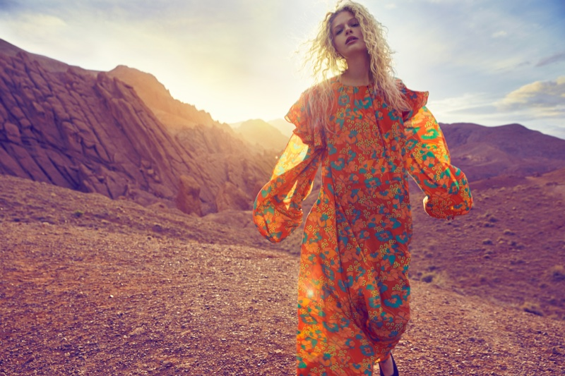 Frederikke Sofie wears floral print maxi dress from Mango's spring collection
