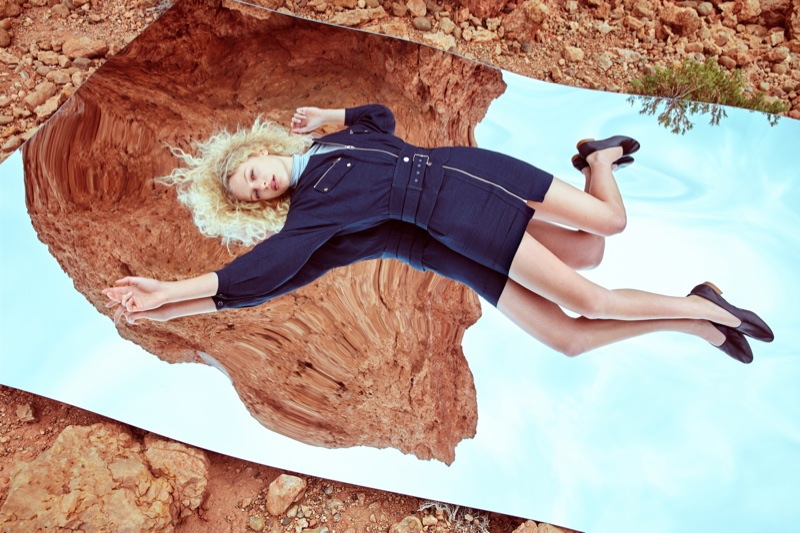 Frederikke Sofie poses outdoors in Mango's spring 2017 campaign