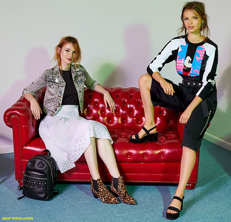 (Left) Marc Jacobs Bleach Denim Jacket, Embroidered Classic Tee, Lace Patchwork Skirt, Biker Grommet Backpack and Kim Chelsea Booties (Right) Marc Jacobs Long Sleeve Raglan Sweatshirt, Long Culottes, Lily Wedge Sandals