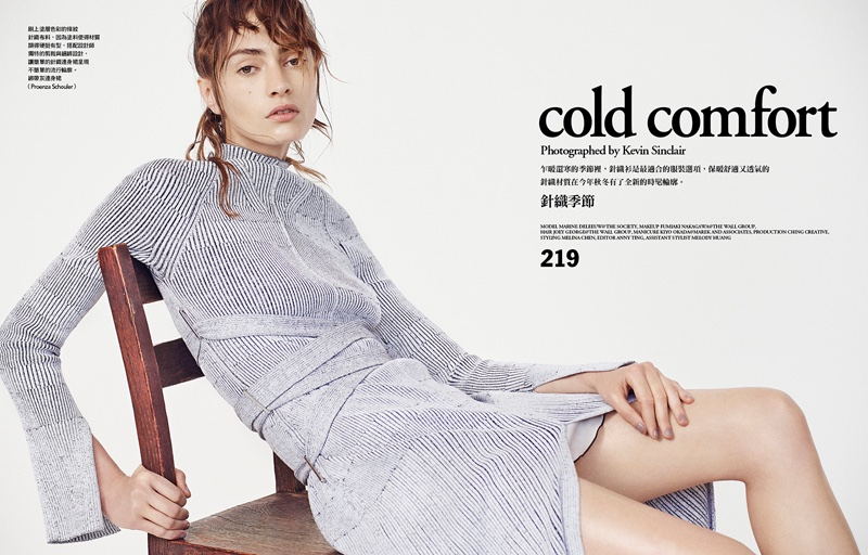 Marine Deleeuw poses in Proenza Schouler dress for Vogue Taiwan