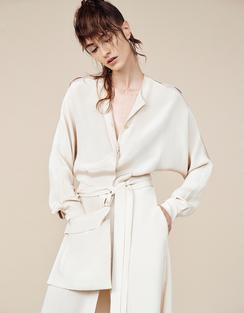 Embracing monochrome, the model wears Tibi look