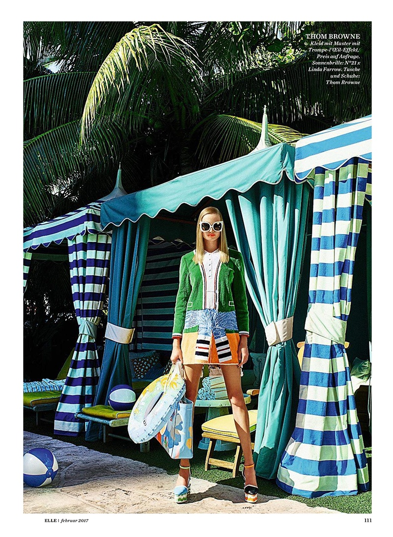 Posing for ELLE Germany, Maud Welzen models Thom Browne patterned dress, bag and shoes