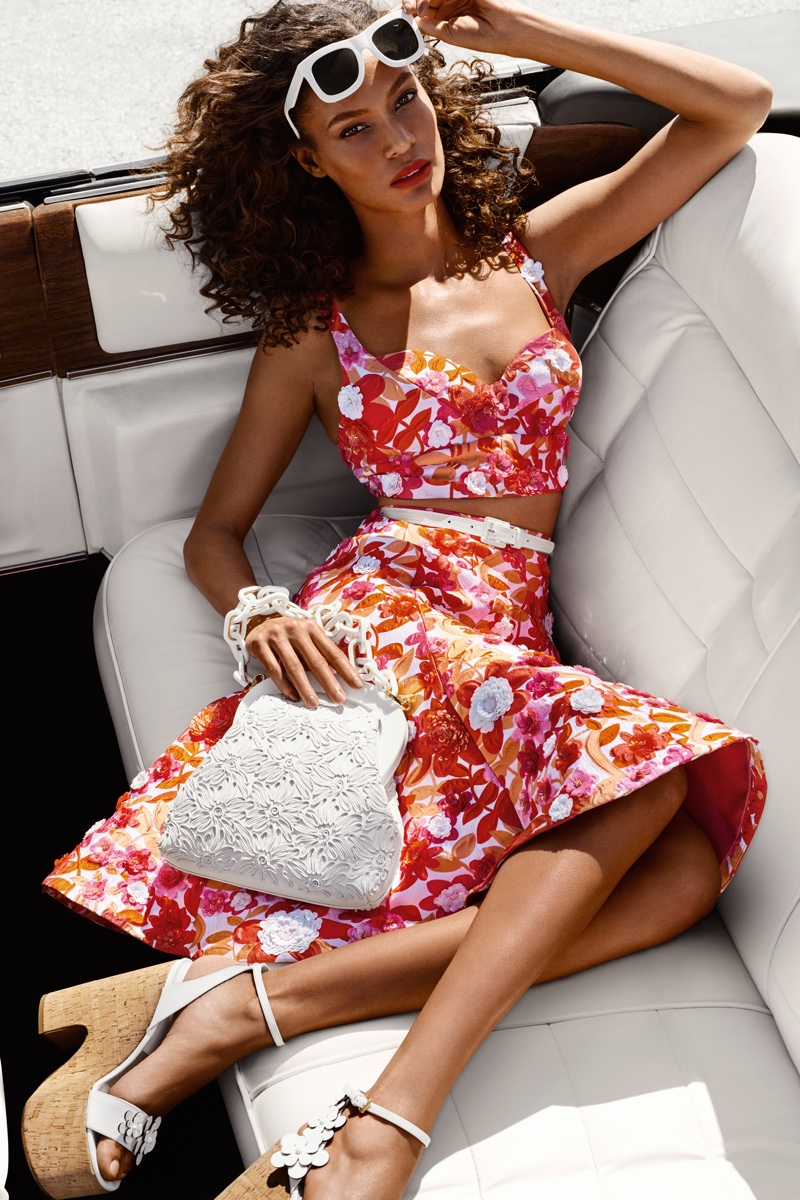 Joan Smalls poses in floral prints for Michael Kors spring 2017 campaign