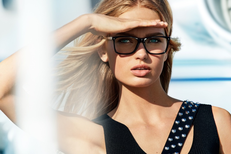 Romee Strijd wears sleek eyewear in MICHAEL Michael Kors' spring 2017 advertising campaign