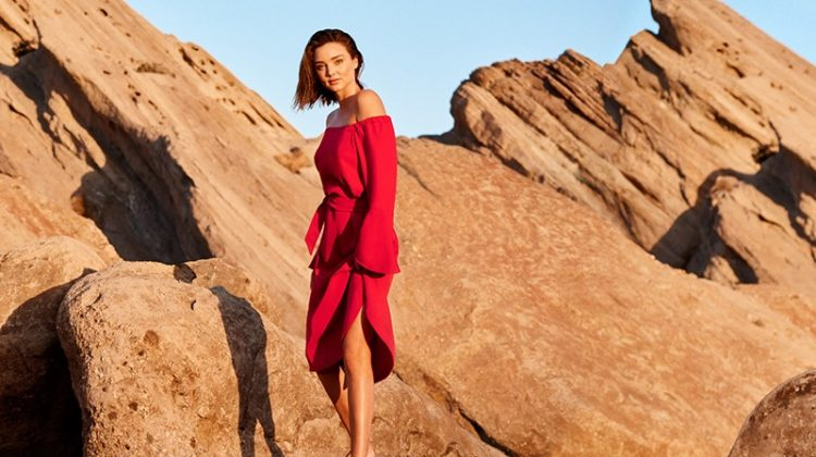 Flaunting some shoulder, Miranda Kerr wears Marella Doroty dress