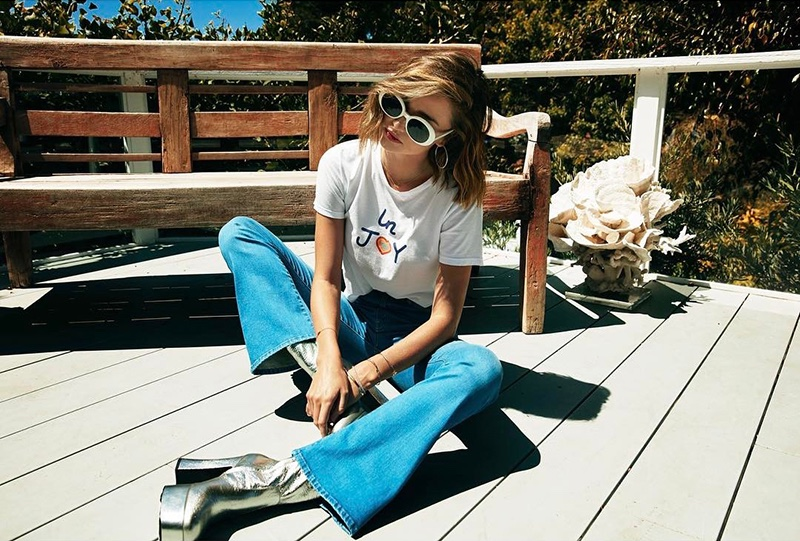 Miranda x Mother InJoy T-Time Crop Shirt and Funday Flare in Blue Skies