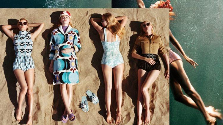 Carolyn Murphy, Elle Fanning and Lara Stone star in Miu Miu's spring-summer 2017 campaign