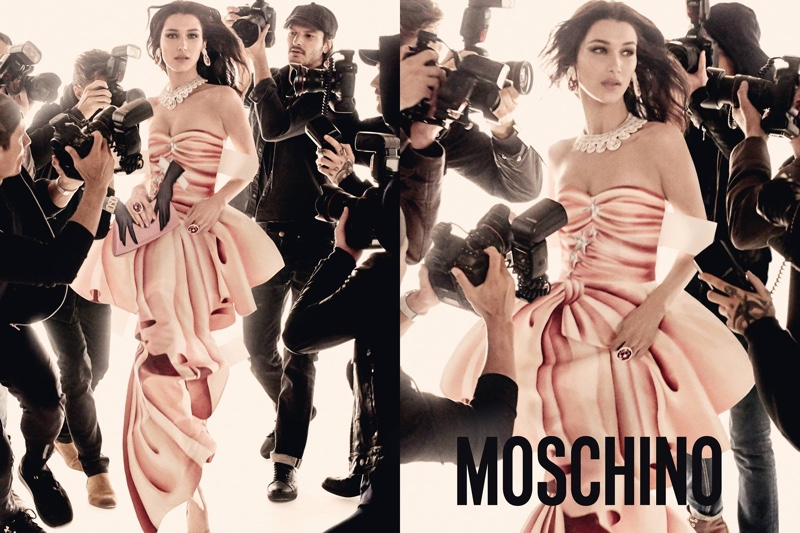 Snapped by paparazzi, Bella Hadid appears in Moschino's spring 2017 campaign