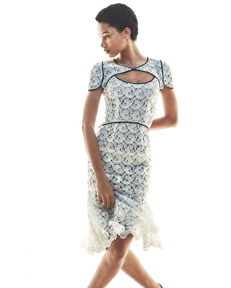 Monique Lhuillier Guipure Lace Keyhole Flounce Dress