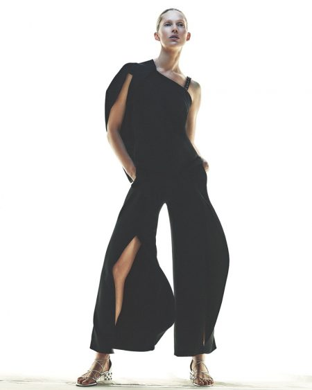 Roland Mouret Studded One-Shoulder Asymmetric Top and Crossover High-Waist Ruffled Pants