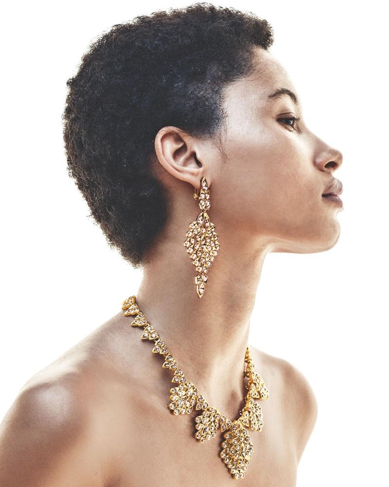 Oscar de la Renta Teardrop Crystal Statement Earrings and Teardrop Framed Crystal Statement Necklace