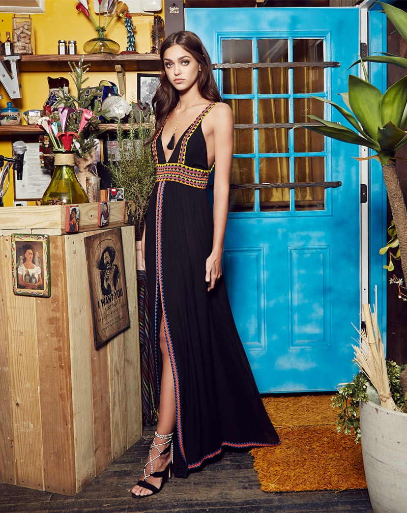 Zhenya Katava models plunging maxi dress in Nicole Miller's spring 2017 campaign