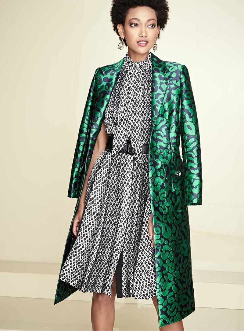 Oscar de la Renta Leopard Jacquard A-Line Coat, Printed Sleeveless Dress with Scarf, Wide Asymmetric Waist Belt and Intertwined Statement Earrings