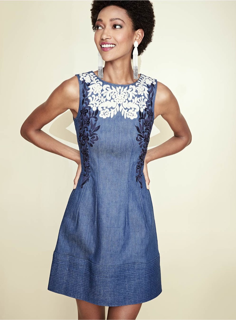 Oscar de la Renta Threadwork-Embroidered Denim Dress, Ombre Beaded Tassel Clip-on Earrings and Modern Baguette Statement Ring