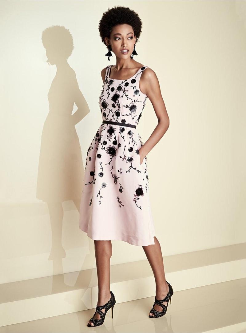 Oscar de la Renta Sleeveless Floral Fit & Flare Midi Dress and Impatiens Flower Drop Earrings