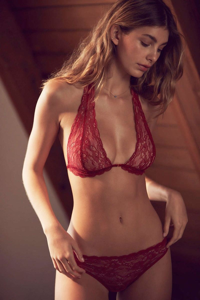 Out From Under Front Closure Lace Halter Bra $29