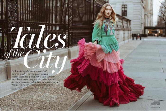 Puck Loomans models Gucci multi-colored dress