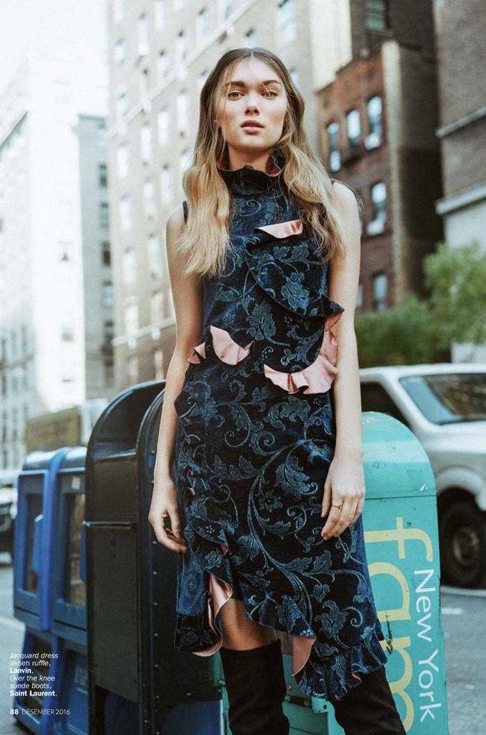 Model Puck Loomans wears Lanvin jacquard dress with Saint Laurent boots