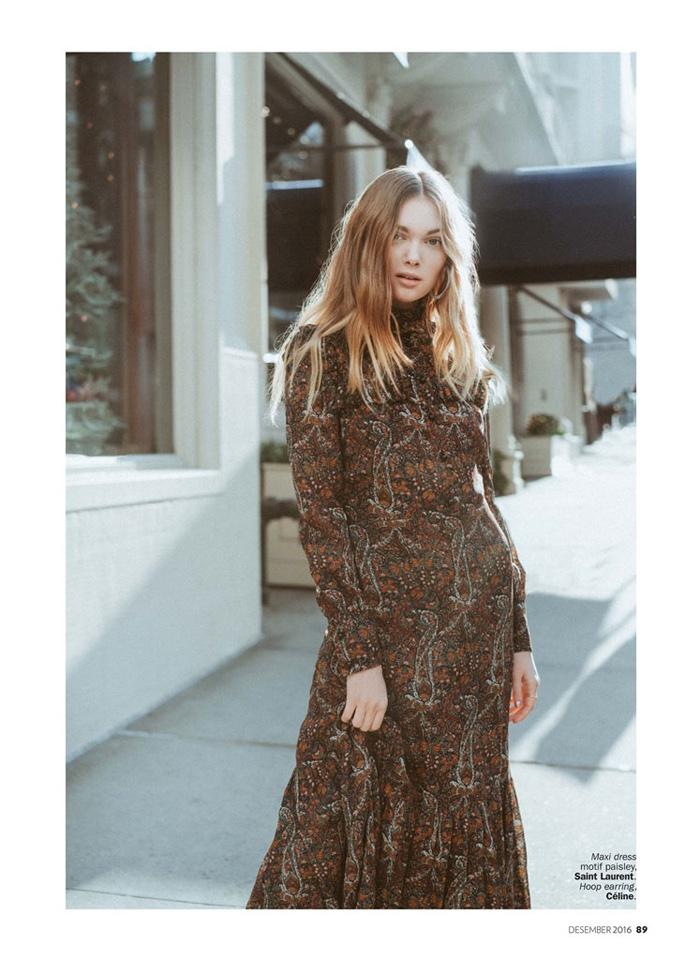 The blonde poses in Saint Laurent paisley print maxi dress