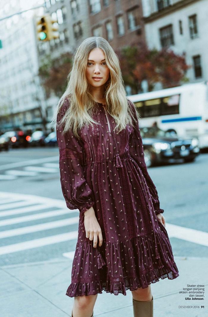Puck Loomans models Ulla Johnson skater dress