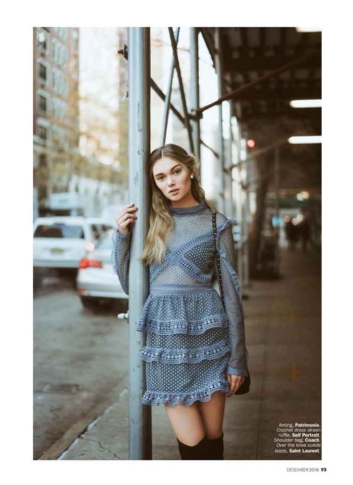 Puck Loomans models Self-Portrait crochet dress and Saint Laurent suede boots
