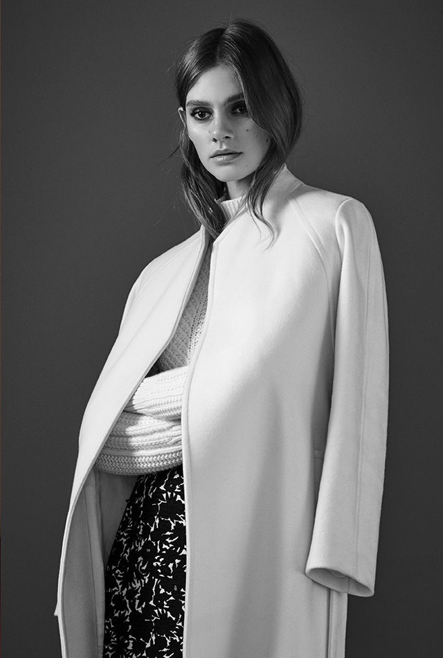 REISS Fiona Wrap-Front Coat, Wynn High-Neck Cable Knit Sweater and Naomi Jacquard Wrap Skirt