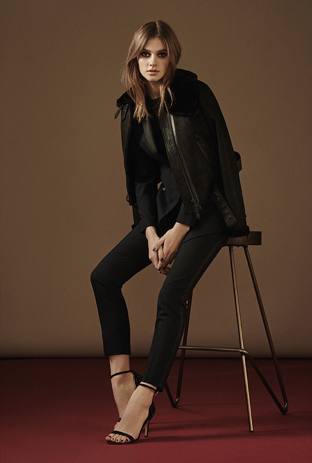 REISS Nell Shearling Biker Jacket, Rockie Tux Jacket, Mell Textured Long-Sleeve Top, Rockie Tux Trouser and Malva Crystal Embellished Sandals