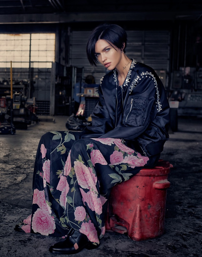 Ruby Rose poses in Givenchy jacket, Giambattista Valli skirt and 3.1 Phillip Lim boots