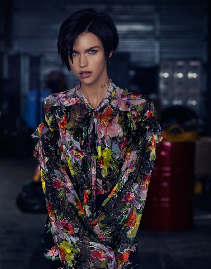 Ruby Rose poses in Preen by Thornton Bregazzi floral print blouse and skirt