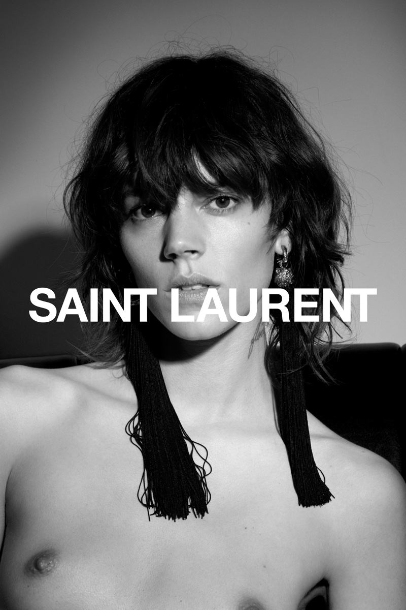 dc8cd09af20 ... Freja Beha Erichsen poses topless in Saint Laurent's spring-summer 2017  campaign