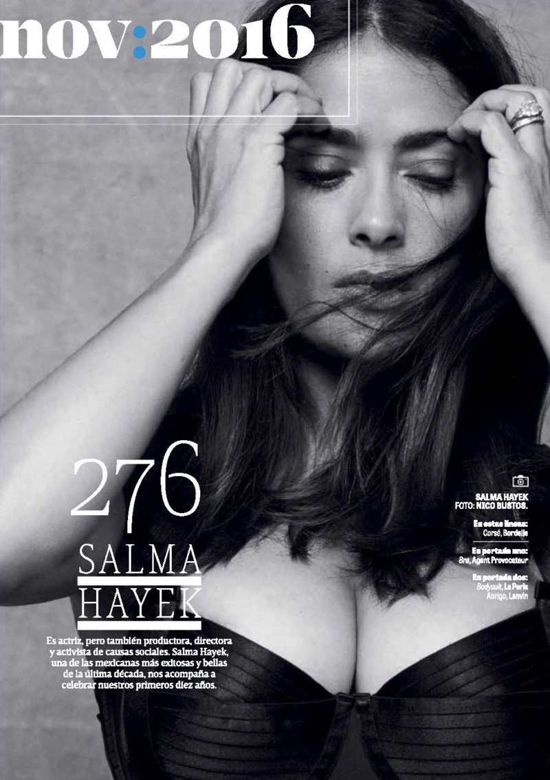 Photographed in black and white, Salma Hayek wears Bordelle corset