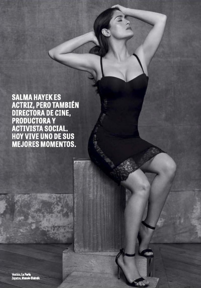 Salma Hayek poses in La Perla lace-trimmed dress and Manolo Blahnik heels