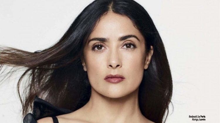 Actress Salma Hayek wears La Perla Bodysuit and Lanvin jacket