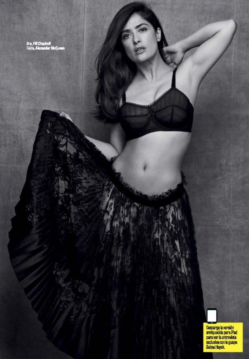 Salma Hayek poses in Fifi Chachnil bra with Alexander McQueen skirt