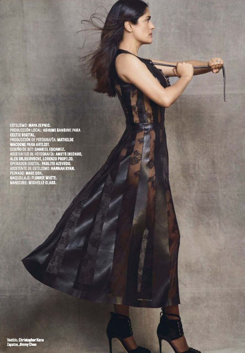 Actress Salma Hayek wears Christopher Kane dress with Jimmy Choo heels