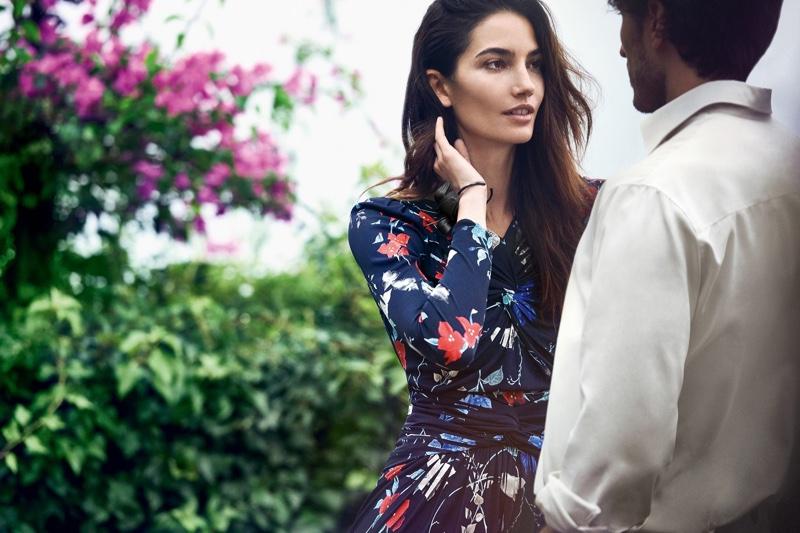 Lily Aldridge poses in florals for Salvatore Ferragamo's spring 2017 campaign