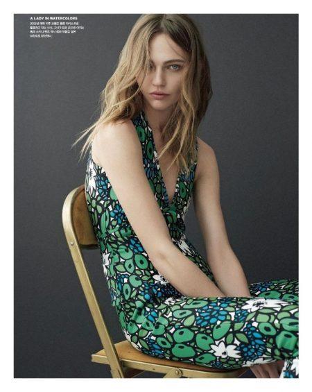 Sasha Pivovarova wears Balenciaga floral print top and pants