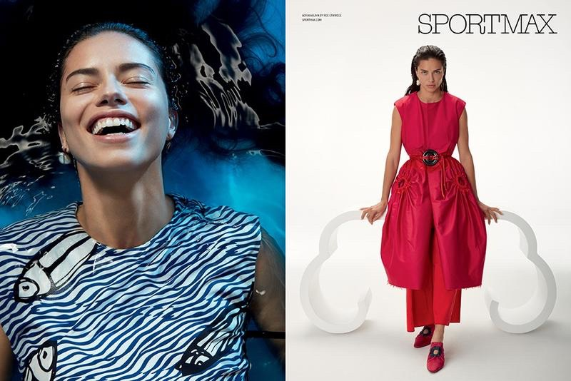 Adriana Lima flashes a smile in Sportmax's spring 2017 campaign
