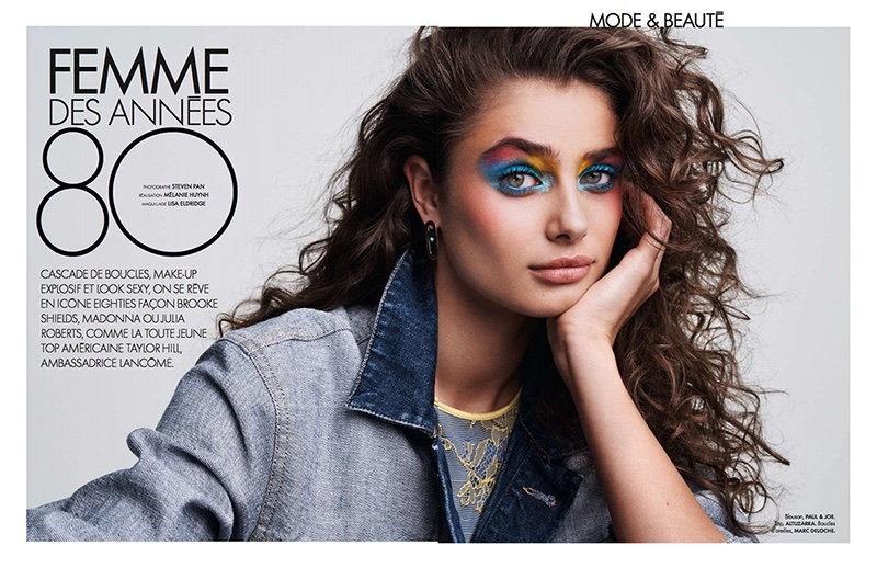 Model Taylor Hill poses in 1980's inspired looks for the fashion editorial