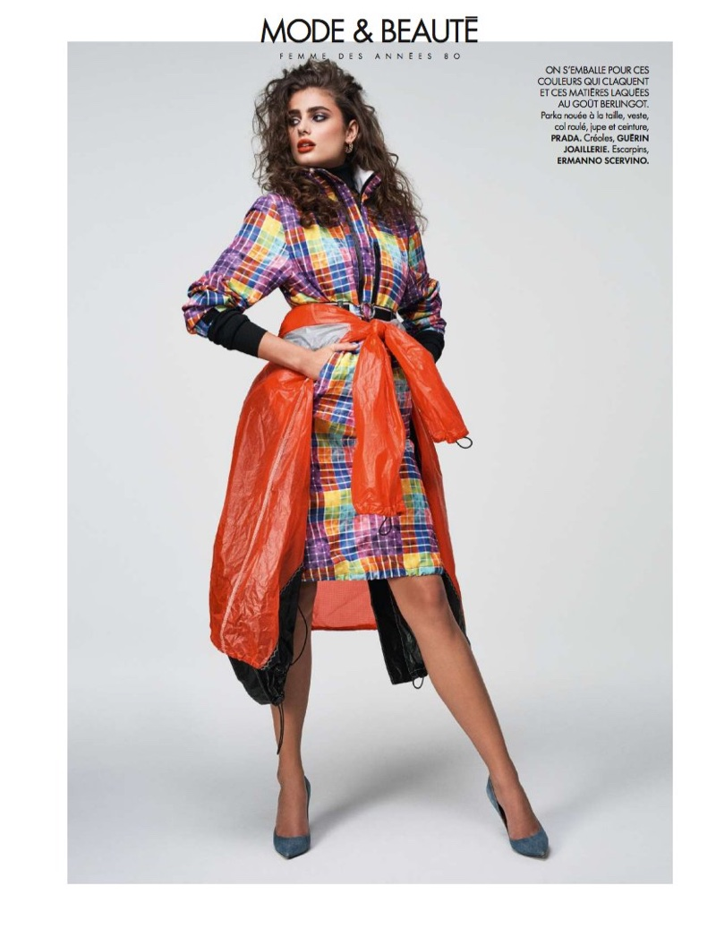 Embracing print, Taylor Hill models Prada parka, skirt, jacket and belt