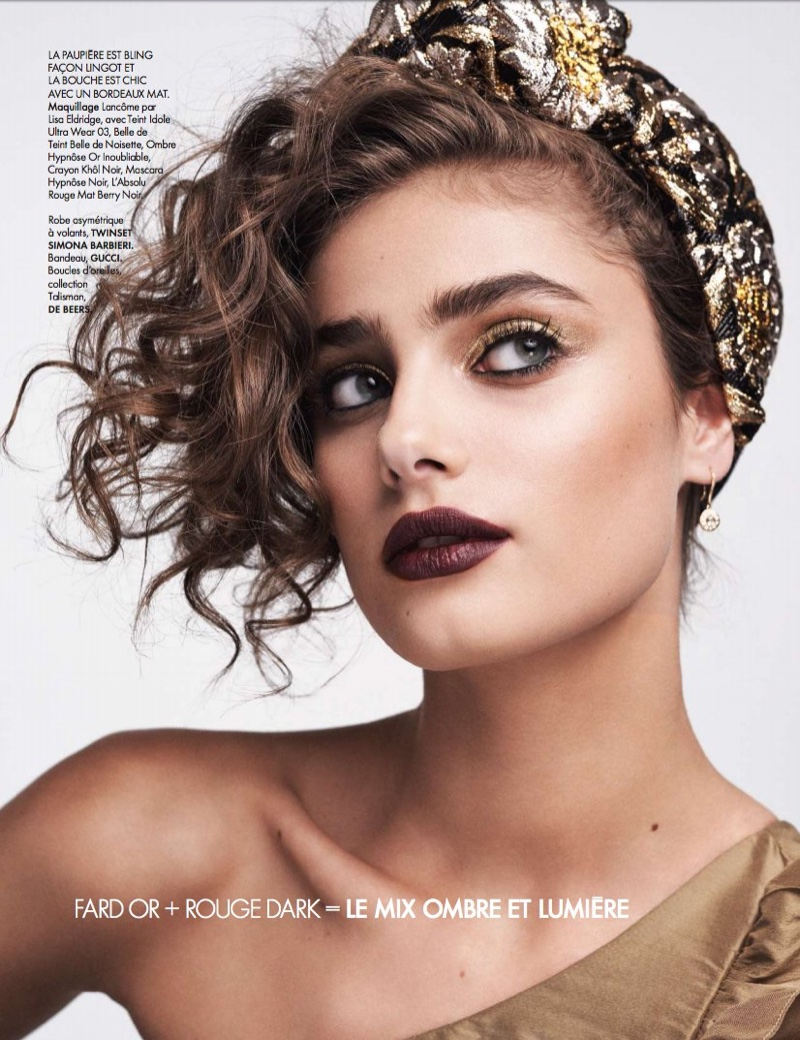 Taylor Hill charms in Twinset dress with Gucci headband