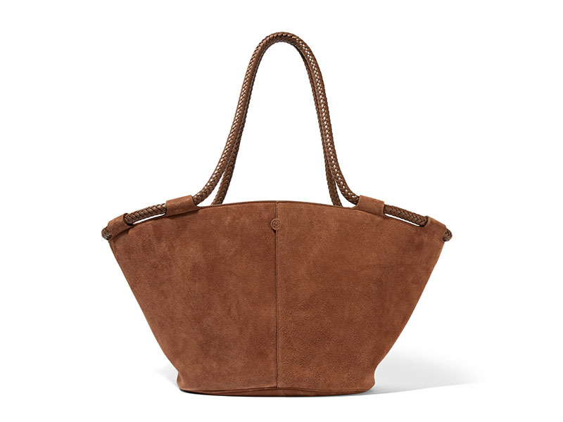 The Row Market Small Leather Trimmed Suede Tote