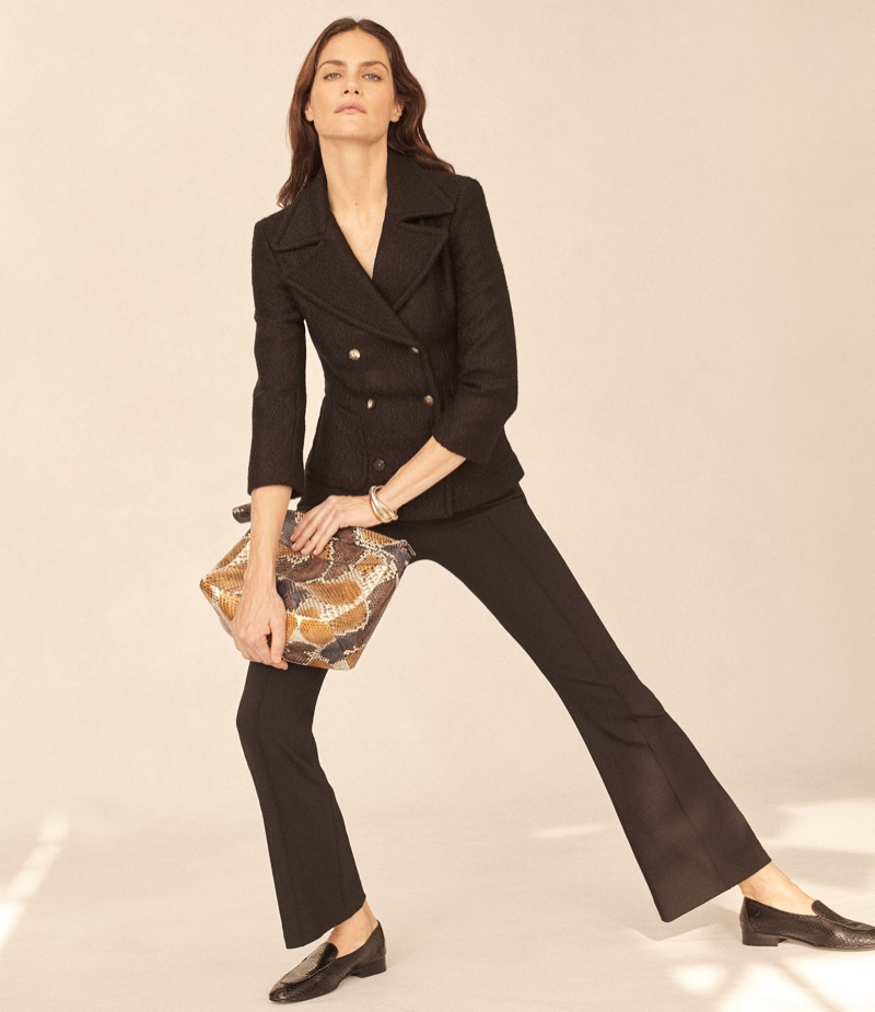The Row Nori Boucle Double-Breasted-Jacket, Beca Crop Flared Pants, Two For One 12 Python Pouch and Alin Snakeskin Loafers