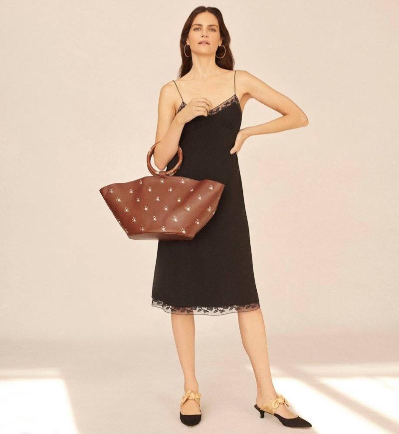 The Row Santi Silk Slip Dress, Sidney Garber Perfect Round Large Hoop Earrings and Market Bag