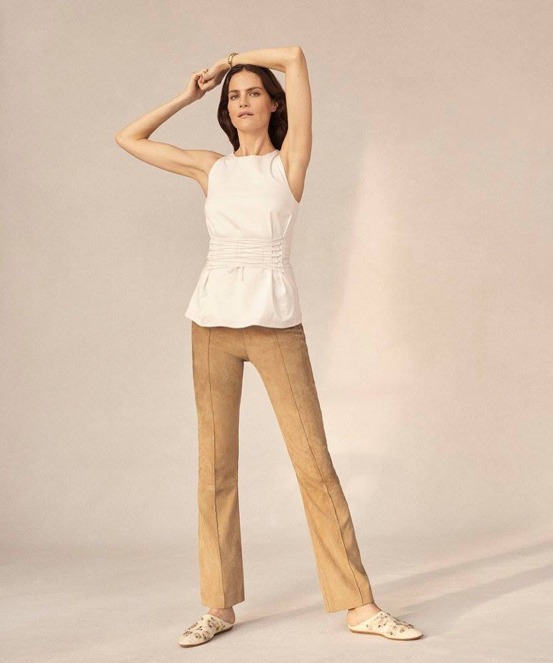 The Row Tallo Poplin Lace-Up Top, Beca Suede Flared Pants and Camil Suede Slingback Pumps