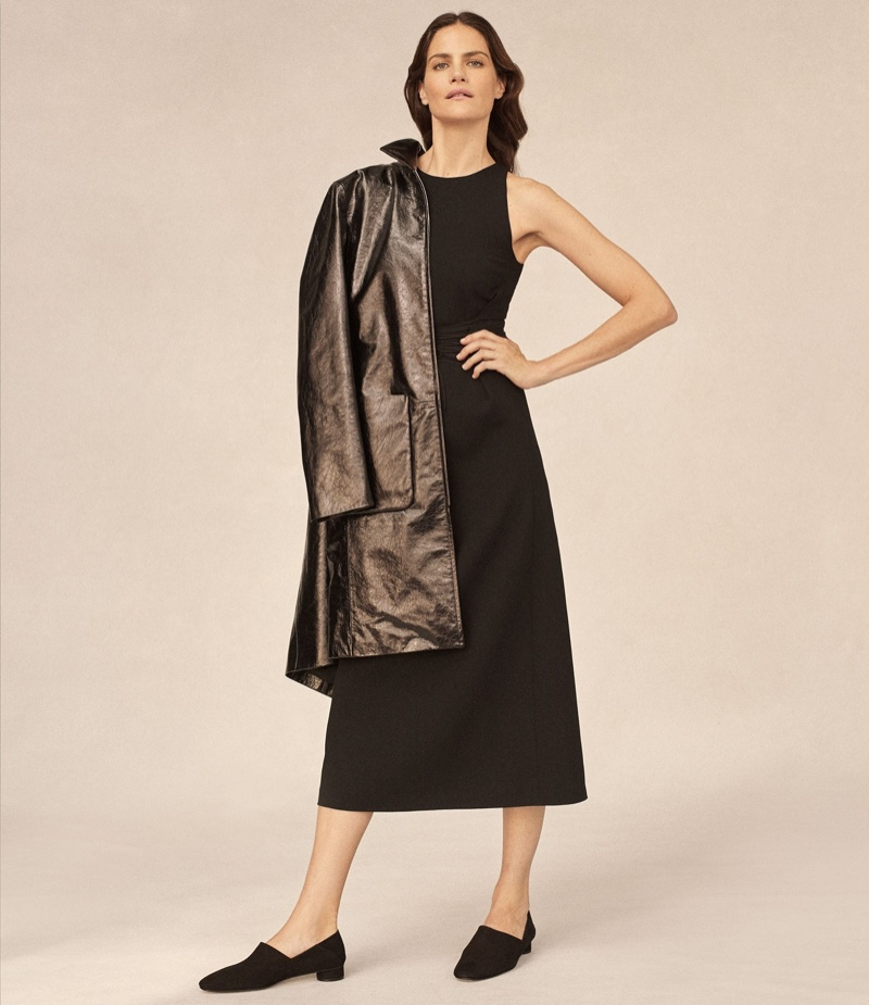 The Row Mendoa Patent Leather Coat, Lao Wool Crepe Dress and Noelle Loafers