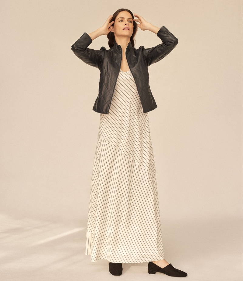 The Row Quipton Quilted Leather Jacket, Streb Striped Georgette Maxi Dress and Noelle Loafers