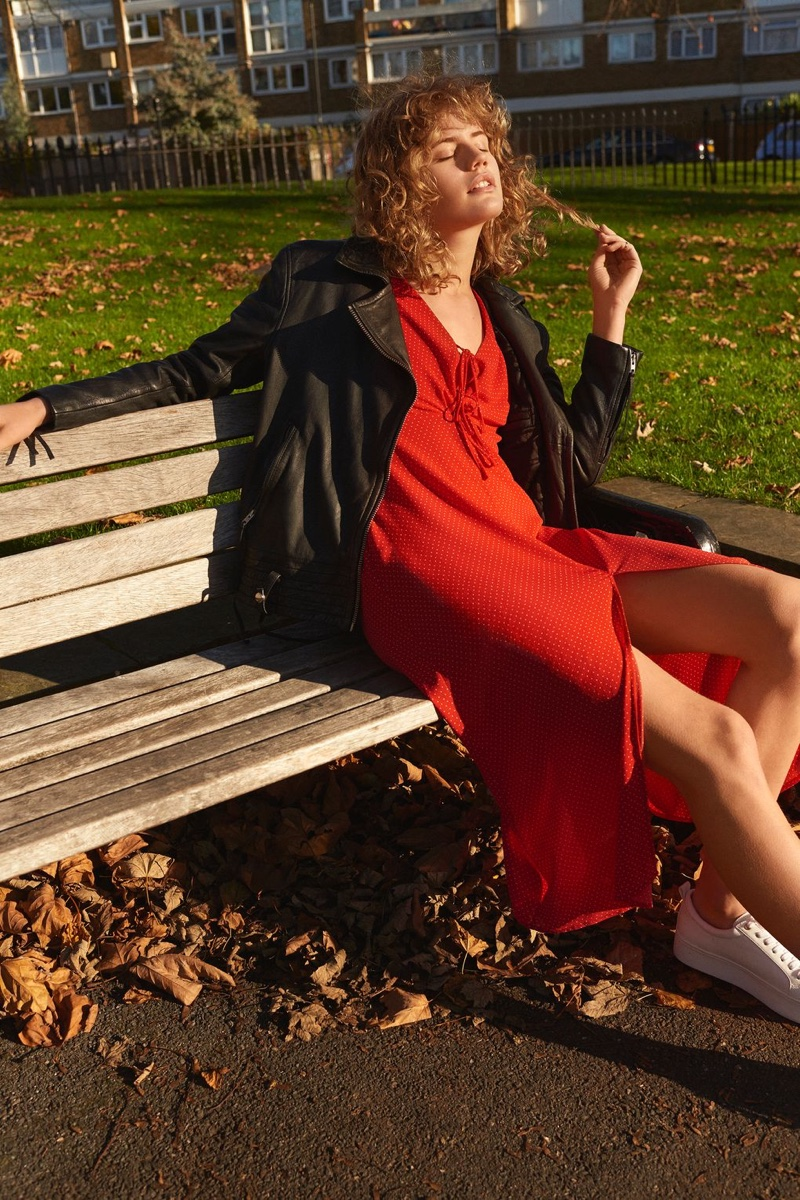 Topshop Leather Biker Jacket and Red Spot Midi Tea Dress