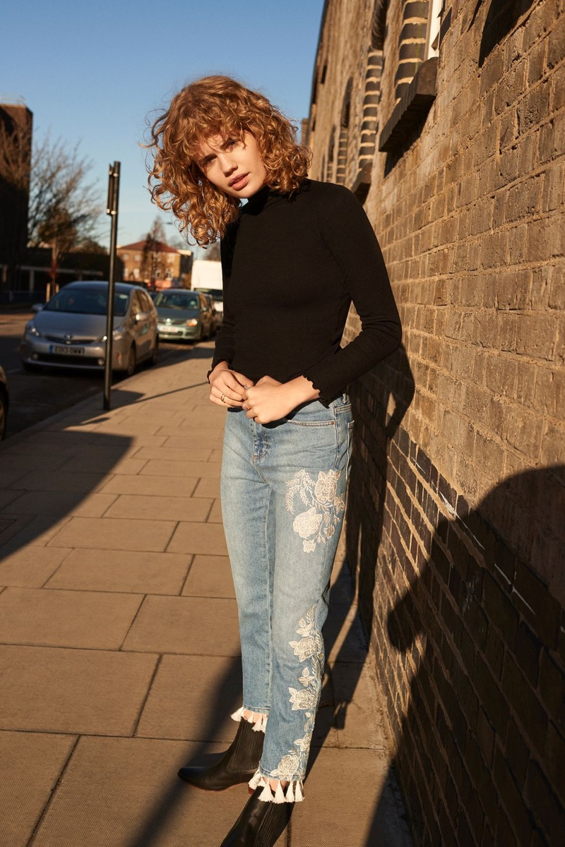 Topshop Long Sleeve Frill Neck Top and MOTO Embroidered Straight Leg Jeans